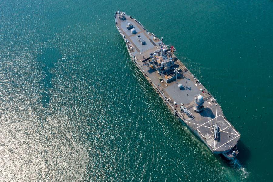 Military ship with radars