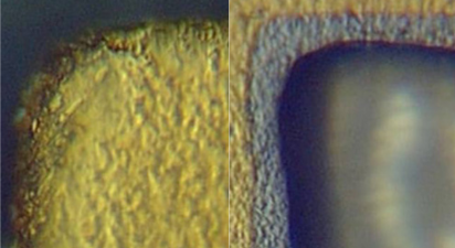 A close up of solder edges